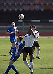 Edinburgh City v Spartans, 11/04/2015. Commonwealth Stadium, Scottish Lowland League. First-half action at the Commonwealth Stadium at Meadowbank during the Scottish Lowland League match between Edinburgh City (white shirts) and city rivals Spartans, which was won by the hosts by 2-0. Edinburgh City were the 2014-15 league champions and progressed to a play-off to decide whether there would be a club promoted to the Scottish League for the first time in its history. The Commonwealth Stadium hosted Scottish League matches between 1974-95 when Meadowbank Thistle played there. Photo by Colin McPherson.
