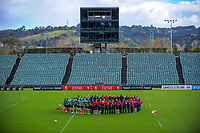 The team observes a minute's silence during the 2017 DHL Lions Series rugby union  British & Irish Lions captain's run at QBE Stadium in Albany New Zealand on Tuesday, 6 June 2017. Photo: Dave Lintott / lintottphoto.co.nz