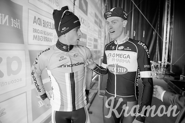 Peter Sagan (SVK/Cannondale) & Niki Terpstra (NLD/OPQS) backstage before the winners ceremony<br /> <br /> 57th E3 Harelbeke 2014