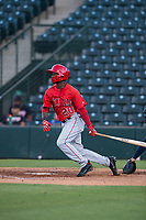 AZL Angels right fielder D'Shawn Knowles (20) follows through on his swing during an Arizona League game against the AZL Indians 2 at Tempe Diablo Stadium on June 30, 2018 in Tempe, Arizona. The AZL Indians 2 defeated the AZL Angels by a score of 13-8. (Zachary Lucy/Four Seam Images)