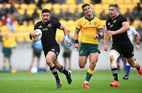 11th October 2020; Sky Stadium, Wellington, New Zealand;   All Blacks first five-eighth Richie Mo'unga breaks away up field during the Bledisloe Cup rugby union test match between the New Zealand All Blacks and Australia Wallabies.