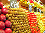 Fruits and vegetables at produce stand at La Boqueria (public market) in Barcelona, Spain.