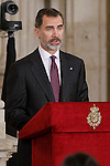 King Felipe VI attends to the closing of the commemoration of the IV centenary of the death of Miguel de Cervantes at Royal Palace in Madrid, Spain. January 30, 2017. (ALTERPHOTOS/BorjaB.Hojas)
