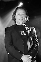 Salvatore Parasuco, president and founder of Parasuco Jeans Inc., <br /> speak at the opening of his<br /> flagship store at the corner of Crescent and St. Catherine streets in Montreal, on the day of DAWSON school shooting (september 13 2006)<br /> <br /> He decide to tone down the party and postpone to the next day the press conference  where he revealed his business strategy for North American and international markets.<br /> <br /> Photo by Pierre Roussel / Images Distribution