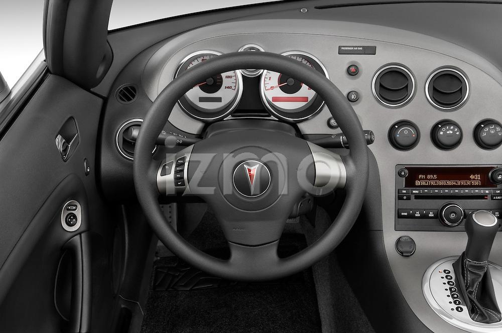 Steering wheel view of a 2008 Pontiac Solstice