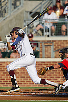 Texas A&M Aggie third baseman Matt Juengel #17 follows through on his swing during the NCAA Tournament Regional baseball game against the Dayton Flyers on June 1, 2012 at Blue Bell Park in College Station, Texas. The Aggies defeated the Flyers 4-1. (Andrew Woolley/Four Seam Images).