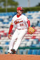 Pitcher Li Hongrui (22) of the China National Team during a game vs. the Washington Nationals Instructional League team at Holman Stadium in Vero Beach, Florida September 28, 2010.   China is in Florida training for the Asia games which will be played in Guangzhou, China in November.  Photo By Mike Janes/Four Seam Images
