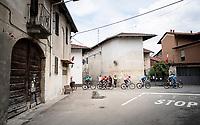 peloton led by Team Movistar in protection of the Maglia Rosa / overall leader Richard Carapaz (ECU/Movistar)<br /> <br /> Stage 15: Ivrea to Como (232km)<br /> 102nd Giro d'Italia 2019<br /> <br /> ©kramon