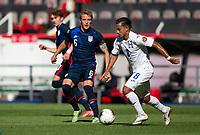 GUADALAJARA, MEXICO - MARCH 28: Jackson Yueill #6 of the United States races over looking to steal the ball during a game between Honduras and USMNT U-23 at Estadio Jalisco on March 28, 2021 in Guadalajara, Mexico.