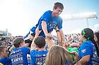 September 10, 2016; Students celebrate after an Irish touchdown vs Nevada. (Photo by Matt Cashore)