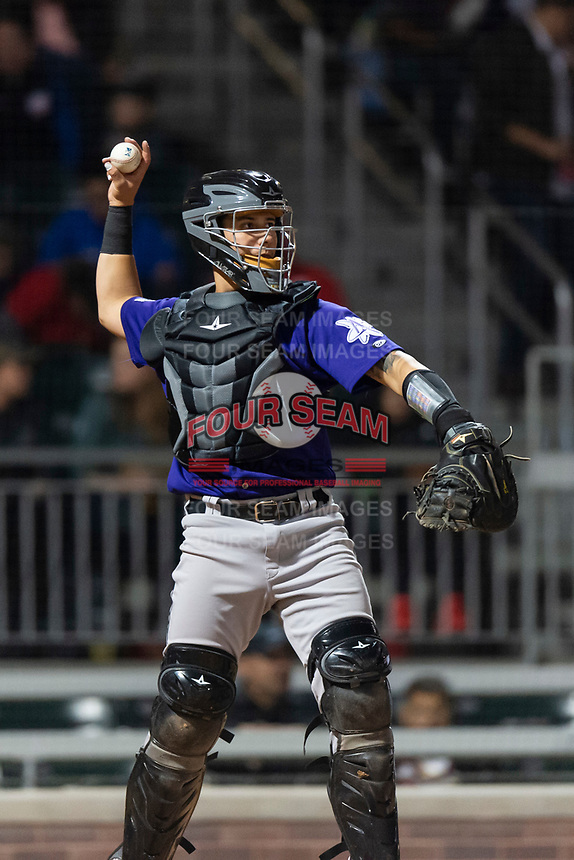 Albuquerque Isotopes catcher Dom Nunez (5) during a Pacific Coast League game against the El Paso Chihuahuas at Southwest University Park on May 10, 2019 in El Paso, Texas. Albuquerque defeated El Paso 2-1. (Zachary Lucy/Four Seam Images)