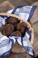 Europe/France/Midi-Pyrénées/46/Lot/Causse de Limogne/Lalbenque: Le marché aux truffes - Détail panier de truffes