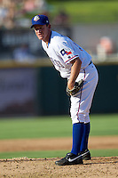 Texas Rangers pitcher Roy Oswalt #51 looks in for the sign during his rehab assignment with the Round Rock Express during the Pacific Coast League baseball game against the Albuquerque Isotopes on June 2, 2012 at The Dell Diamond in Round Rock, Texas. (Andrew Woolley/Four Seam Images)