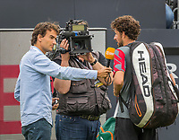 Den Bosch, Netherlands, 13 June, 2017, Tennis, Ricoh Open, Robin Haase (NED) is interviewd by Jan willem de Lange after his match.<br /> Photo: Henk Koster/tennisimages.com
