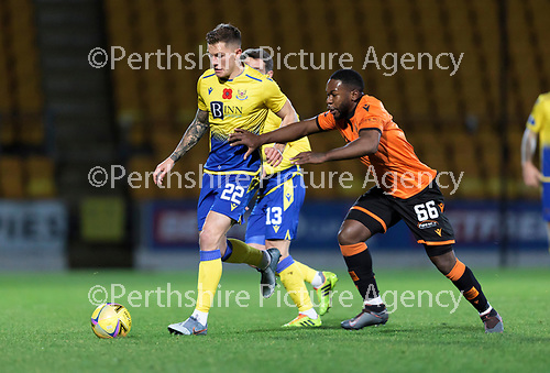 St Johnstone v Dundee United…10.11.20   McDiarmid Park      BetFred Cup<br />Callum Hendry and Jeando Fuchs<br />Picture by Graeme Hart.<br />Copyright Perthshire Picture Agency<br />Tel: 01738 623350  Mobile: 07990 594431