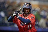 Deven Marrero (28) of the Jacksonville Jumbo Shrimp waits for his turn to hit during the game against the Durham Bulls at Durham Bulls Athletic Park on May 15, 2021 in Durham, North Carolina. (Brian Westerholt/Four Seam Images)
