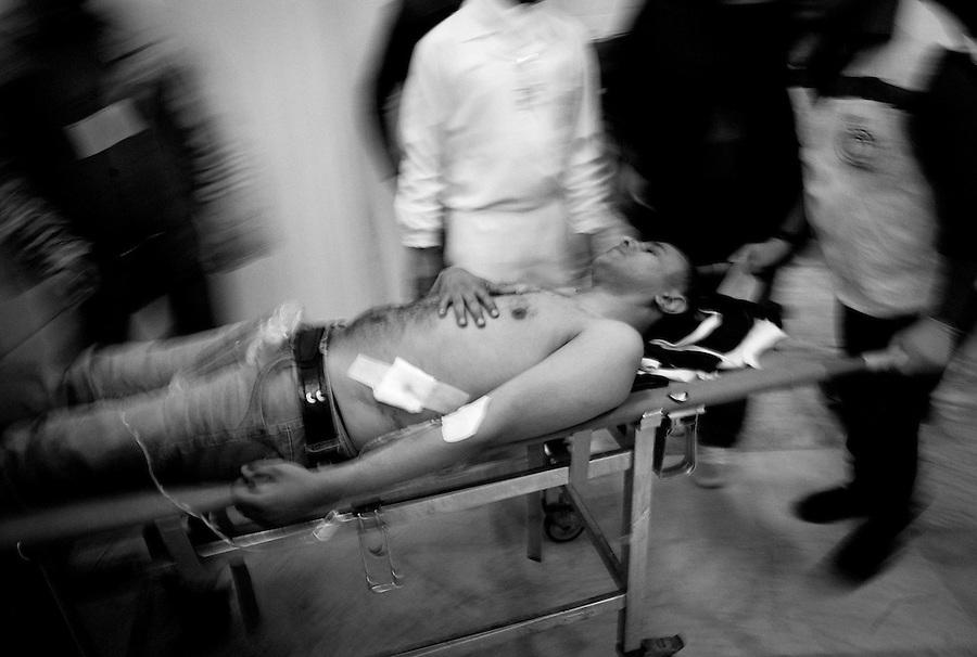 Civilian casualty in Benghazi, Libya.
