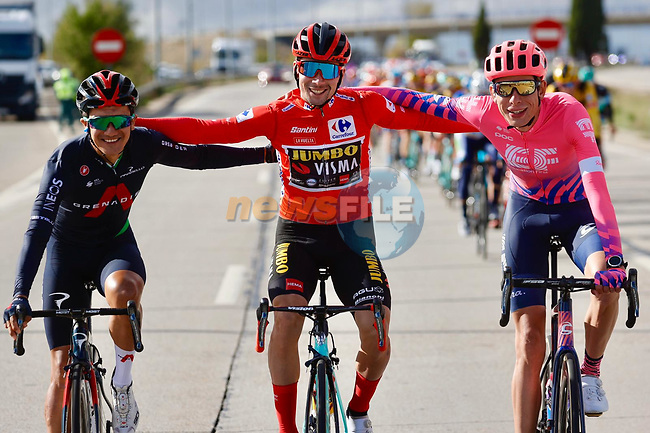 Primoz Roglic (SLO) Team Jumbo-Visma wins the overall general classification Red Jersey with Richard Carapaz (ECU) Ineos Grenadiers finishing 2nd and Hugh John Carthy (ENG) EF Pro Cycling 3rd line up for the cameras during Stage 18 of the Vuelta Espana 2020, running 139.6km from Hipódromo de La Zarzuela to Madrid, Spain. 8th November 2020. <br /> Picture: Luis Angel Gomez/PhotoSportGomez | Cyclefile<br /> <br /> All photos usage must carry mandatory copyright credit (© Cyclefile | Luis Angel Gomez/PhotoSportGomez)