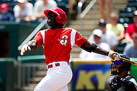 Jermaine Curtis (5) of the Springfield Cardinals follows through on his swing after hitting a double during a game against the San Antonio Missions on May 30, 2011 at Hammons Field in Springfield, Missouri.  Photo By David Welker/Four Seam Images