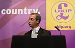 © Joel Goodman - 07973 332324 . 24/04/2014 . Manchester , UK . UKIP leader , NIGEL FARAGE , addresses a UKIP conference rally at the Free Trade Hall in Manchester . Photo credit : Joel Goodman