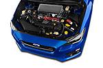 Car stock 2017 Subaru WRX STI Sport Premium 4 Door Sedan engine high angle detail view