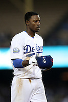Dee Gordon #9 of the Los Angeles Dodgers during a game against the Cincinnati Reds at Dodger Stadium on July 3, 2012 in Los Angeles, California. Los Angeles defeated Cincinnati 3-1. (Larry Goren/Four Seam Images)