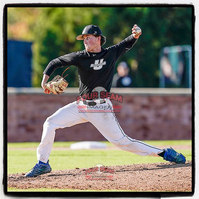 Derek Sivec (47) of the University of South Carolina Upstate Spartans Black team delivers a pitch in the Green and Black Fall World Series Game 3 on Sunday, November 1, 2020, at Cleveland S. Harley Park in Spartanburg, South Carolina. Green won, 3-2. (Tom Priddy/Four Seam Images)