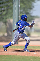 Los Angeles Dodgers outfielder Johan Mieses (57) during an Instructional League game against the Cincinnati Reds on October 11, 2014 at Goodyear Training Complex in Goodyear, Arizona.  (Mike Janes/Four Seam Images)