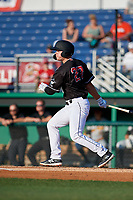 Batavia Muckdogs Troy Johnston (27) bats during a NY-Penn League game against the West Virginia Black Bears on June 26, 2019 at Dwyer Stadium in Batavia, New York.  Batavia defeated West Virginia 4-2.  (Mike Janes/Four Seam Images)