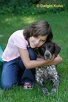 SH24-504z Children loving their German Shorthaired Pointer, PRA, Age 8