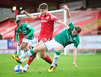 Lincoln City's James Jones battles with Accrington Stanley's Cameron Burgess<br /> <br /> Photographer Andrew Vaughan/CameraSport<br /> <br /> The EFL Sky Bet League One - Accrington Stanley v Lincoln City - Saturday 21st November 2020 - Crown Ground - Accrington<br /> <br /> World Copyright © 2020 CameraSport. All rights reserved. 43 Linden Ave. Countesthorpe. Leicester. England. LE8 5PG - Tel: +44 (0) 116 277 4147 - admin@camerasport.com - www.camerasport.com