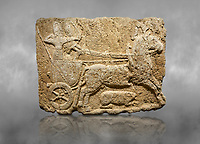 Hittite monumental relief sculpted orthostat stone panel. Limestone, Karkamıs, (Kargamıs), Carchemish (Karkemish), 900-700 B.C. Hunting carriage. Anatolian Civilisations Museum, Ankara, Turkey.<br /> <br /> Two human figures; one handling the carriage, the other throwing arrows. Both figures are wearing a headdress shaped like a skullcap. The dagger at the waist of the figure throwing arrow draws attention. There is an animal between the legs of the horse having an aigrette over its head.  <br /> <br /> Against a grey art background.