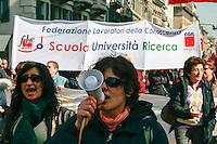 Milano, manifestazione contro i tagli previsti dalla riforma dell'istruzione. CGIL FLC --- Milan, demonstration against the spending cut provided by the school reform