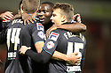 Luke Freeman of Stevenage scores their second goal and celebrates with team-mates<br />  - Crewe Alexandra v Stevenage - Sky Bet League One - Alexandra Stadium, Gresty Road, Crewe - 22nd October 2013. <br /> © Kevin Coleman 2013