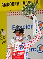 11th July 2021, Ceret, Pyrénées-Orientales, France; Tour de France cycling tour, stage 15, Ceret to  Andorre-La-Vieille;  POELS Wouter (NED) of BAHRAIN VICTORIOUS pictured with the polka dot jersey during the podium ceremony during stage 15 of the 108th edition of the 2021 Tour de France cycling race, a stage of 191,3 kms between Ceret and Andorre-La-Vieille.