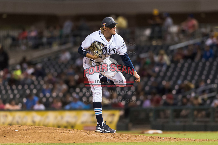 AFL West relief pitcher Dalton Moats (39), of the Peoria Javelinas and Tampa Bay Rays organization, follows through on his delivery during the Arizona Fall League Fall Stars game at Surprise Stadium on November 3, 2018 in Surprise, Arizona. The AFL West defeated the AFL East 7-6 . (Zachary Lucy/Four Seam Images)