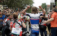 Peter Sagan (SVK/Tinkoff-Saxo) just won the World Championship and is over the moon with joy<br /> <br /> Elite Men Road Race<br /> UCI Road World Championships Richmond 2015 / USA