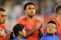 EAST RUTHERFORD, NJ - SEPTEMBER 7: Weston McKennie #8 of the United States during the presentation of the team during a game between Mexico and USMNT at MetLife Stadium on September 6, 2019 in East Rutherford, New Jersey.