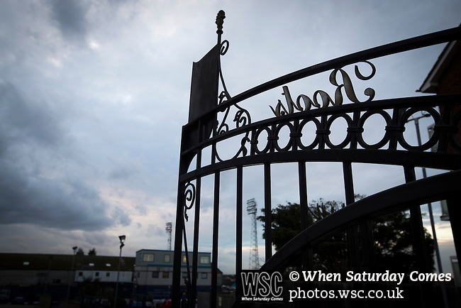 Southend United 1 Burton Albion 1, 22/02/2016. Roots Hall, League One. The wrought iron gates at the entrance to the car park at Roots Hall stadium, pictured before Southend United took on Burton Albion in a League 1 fixture. Founded in 1906, Southend United moved into their current ground in 1955, the construction of which was funded by the club's supporters. Southend won this match by 3-1, watched by a crowd of 6503. Photo by Colin McPherson.