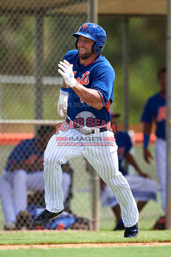 New York Mets left fielder Tim Tebow (15) running the bases during an Instructional League game against the Miami Marlins on September 29, 2016 at the Port St. Lucie Training Complex in Port St. Lucie, Florida.  (Mike Janes/Four Seam Images)