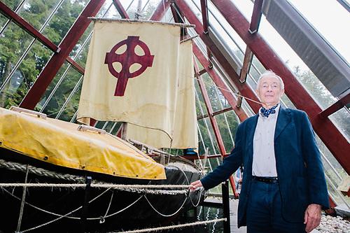 Tim Severin in 2016 with the Brendan in Craggaunowen Heritage Centre, Kilmurry, Co Clare.