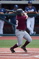 Patrick Arndt (38) of the Bellarmine Knights follows through on his swing against the Liberty Flames at Liberty Baseball Stadium on March 9, 2021 in Lynchburg, VA. (Brian Westerholt/Four Seam Images)