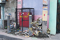 Garbage on the streets view from the car window Manila, Philippines