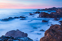 Sunset turns to dusk along the coast of Sonoma County, California.