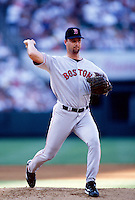 Tim Wakefield of the Boston Red Sox plays in a baseball game at Edison International Field during the 1998 season in Anaheim, California. (Larry Goren/Four Seam Images)