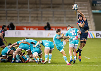 8th January 2021; AJ Bell Stadium, Salford, Lancashire, England; English Premiership Rugby, Sale Sharks versus Worcester Warriors; Francois Hougaard of Worcester Warriors hoists a high ball under pressure from Josh Beaumont of Sale Sharks