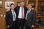St Johnstone v Aberdeen.....07.12.13    SPFL<br /> Sir Alex Ferguson at McDiarmid Park with Chairman Steve Brown and former Chairman Geoff Brown. He was invited by St Johnstone FC to mark the 50th anniversary of a famous game in the club's history when a young 'Fergie' scored hat-trick against Rangers at Ibrox on the 21st December 1963. Saints winning the game 3-2<br /> Picture by Graeme Hart.<br /> Copyright Perthshire Picture Agency<br /> Tel: 01738 623350  Mobile: 07990 594431