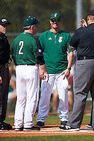 Eastern Michigan Eagles head coach Mark Van Ameyde during the lineup exchange with Dartmouth Big Green head coach Bob Whalen (2) before a game on February 25, 2017 at North Charlotte Regional Park in Port Charlotte, Florida.  Dartmouth defeated Eastern Michigan 8-4.  (Mike Janes/Four Seam Images)