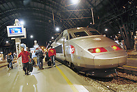 - TGV high speed train of French Railroads in Milan Central Station ....- treno ad alta velocità TGV delle Ferrovie Francesi alla Stazione Centrale di Milano