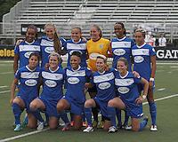 Boston Breakers starting 11. In a National Women's Soccer League Elite (NWSL) match, Sky Blue FC (white) defeated the Boston Breakers (blue), 3-2, at Dilboy Stadium on June 16, 2013.